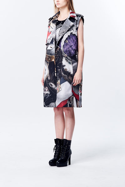 British Punk Image Printed Sleeve Less Oversize Trange Coat