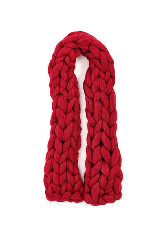 Sean Collection- Super Chunky Hand-Knit Long Scarf -Red