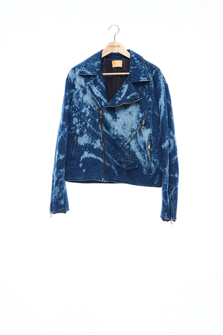 Sean Collection- BPM Inspired Splash Jeans Biker's Jacket