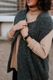 Cozy and a must-have, our oversized vest. Made of Alpaca fleece, perfect for layering over leggings or jeans for a put-together polished look that is effortlessly comfortable. Shown in Charcoal Medium.