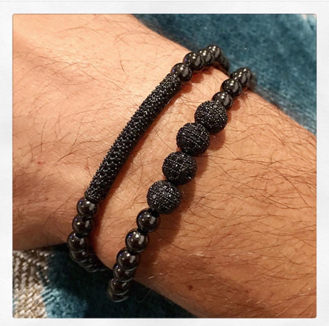 Rob's Black Diamond Men's Bracelet Set