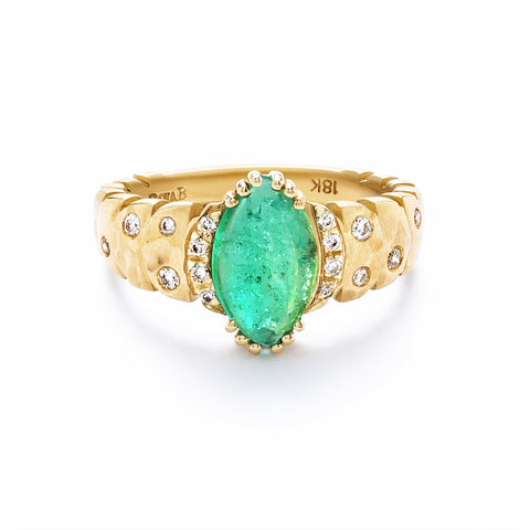 Dana Bronfman x Muzo Emeralds North-South Marquise Agra Ring