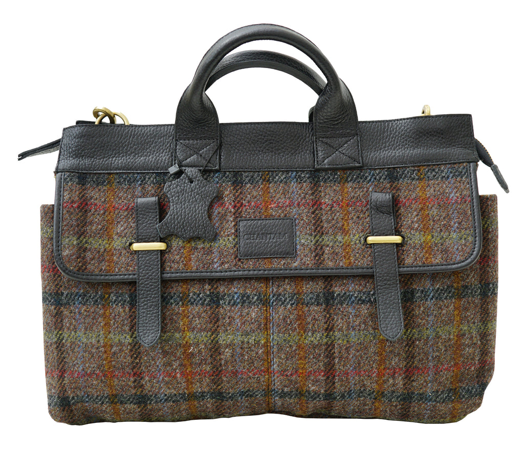 Harris Tweed Mens Handbag Brown HTChoc - Chantam - Beautifully designed Tartan and Harris Tweed handbags and accessories