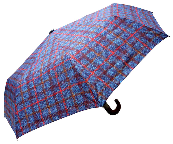 ST Navy Tartan, Tweed Pattern Umbrella with Pongee Fabric - Chantam - Beautifully designed Tartan and Harris Tweed handbags and accessories