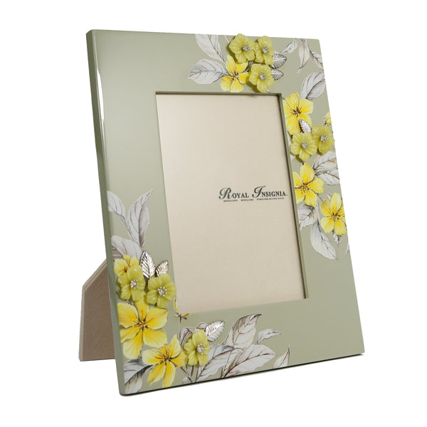 Petit Toile - Kerria Lacquer Photo Frame, Yellow Jade flowers with Silver Gilded Leaves.