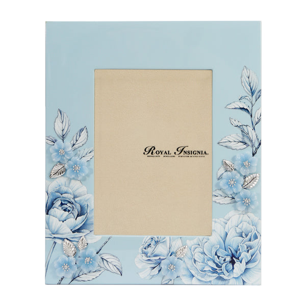Petit Toile - Rose Lacquer Photo Frame, White Roses brushed with Pale Blue highlights, a modern take on Chinoiserie