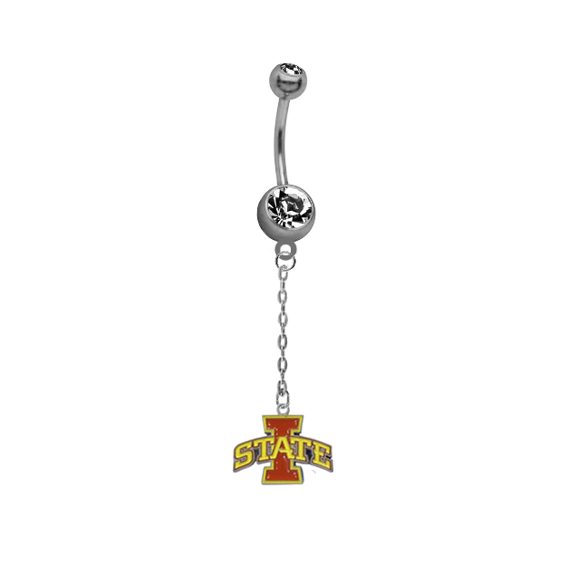 Iowa State Cyclones Dangle Chain Belly Button Navel Ring
