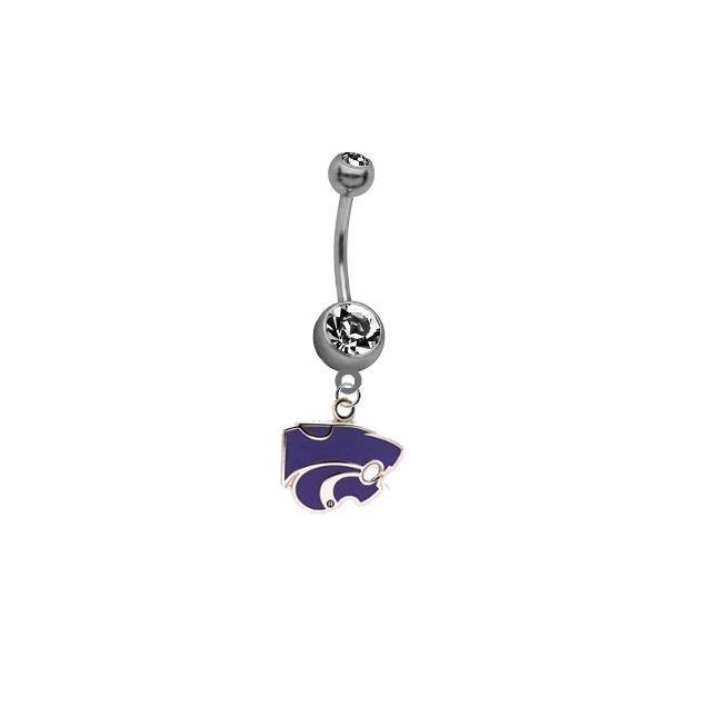 Kansas State Wildcats SILVER College Belly Button Navel Ring