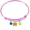 Michigan Wolverines Style 3 PINK Expandable Wire Bangle Charm Bracelet