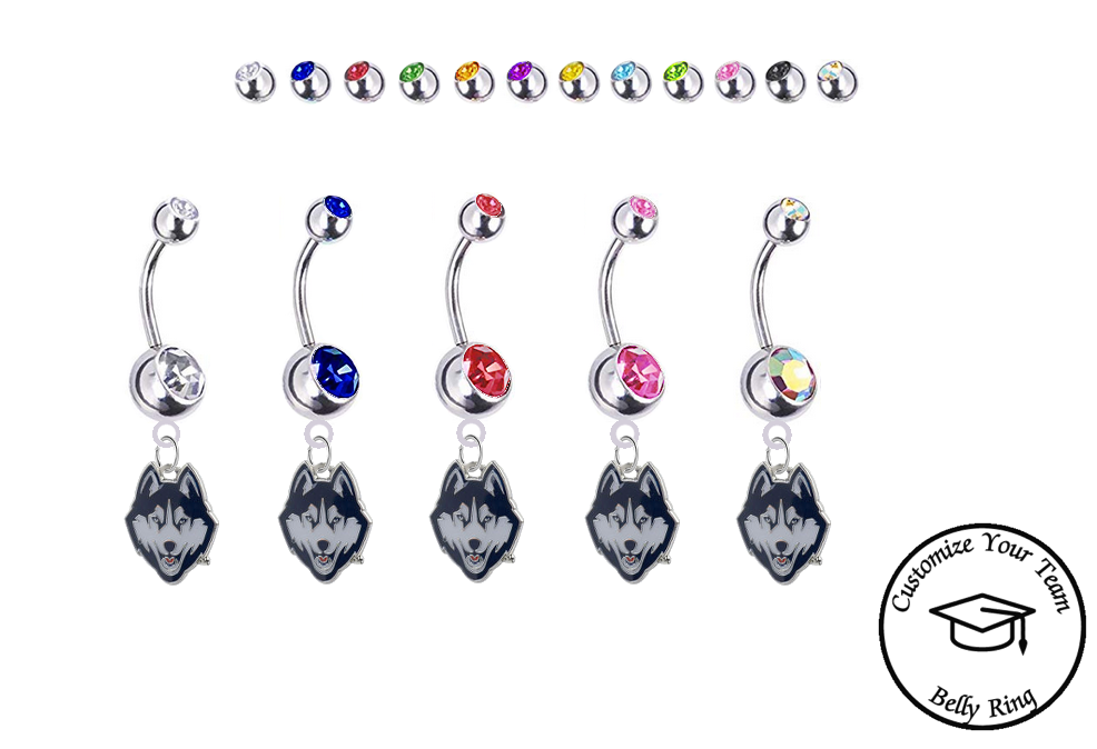 UConn Huskies Silver Swarovski Belly Button Navel Ring - Customize Gem Colors