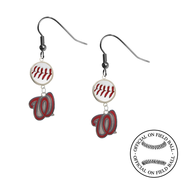 Washington Nationals Style 2 MLB Authentic Rawlings On Field Leather Baseball Dangle Earrings