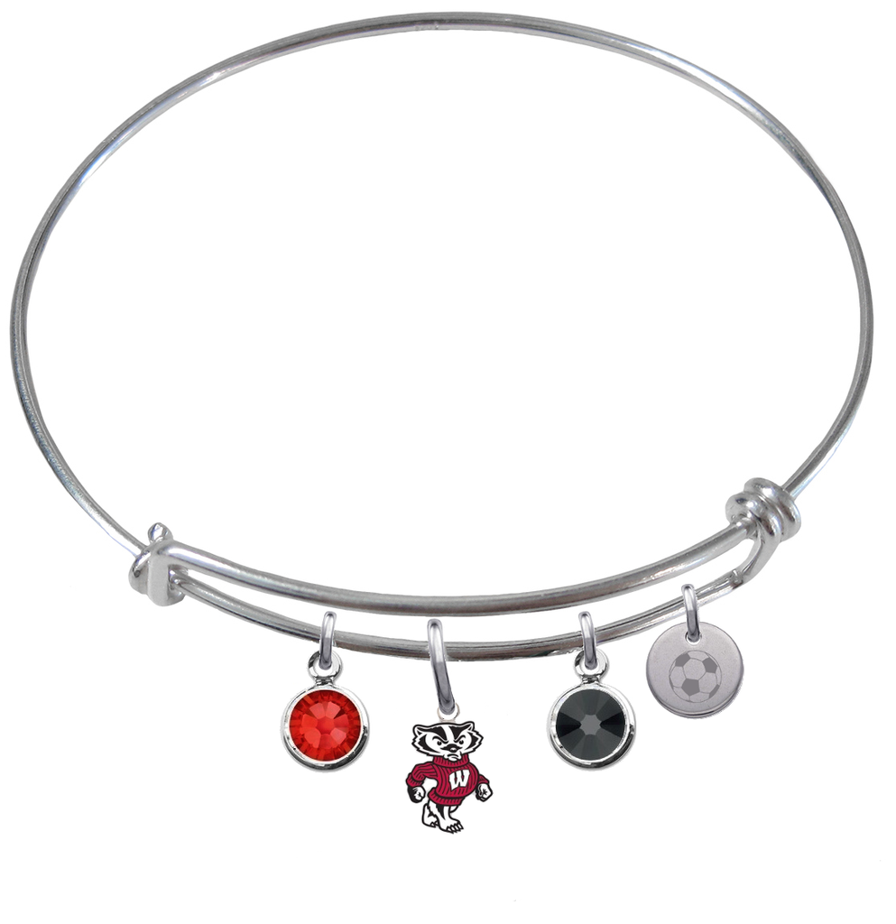 Wisconsin Badgers Mascot Soccer Expandable Wire Bangle Charm Bracelet