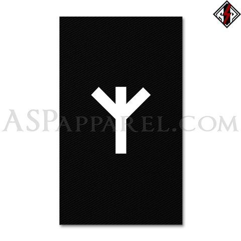 Algiz Rune Banner Flag (Vertical)-satanic-clothing-heathen-merchandise-by-ASP Culture