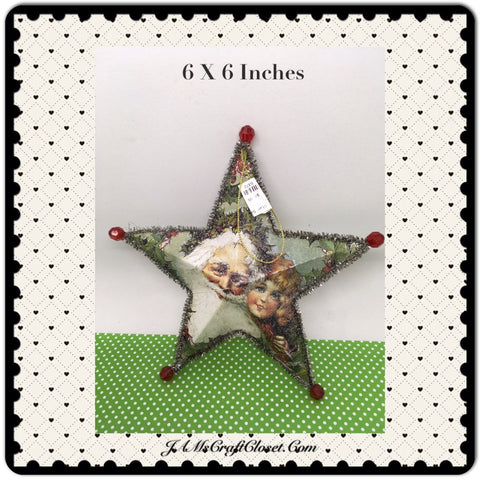 Star Ornament Santa With Little Girl Christmas Tree Holiday Decor Tree Decor