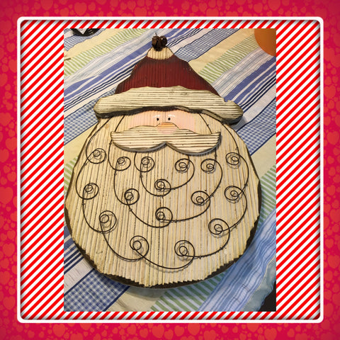 Santa Face Large Primitive Vintage Wooden Christmas Decor Holiday Decor Wall Art Wall Hanging