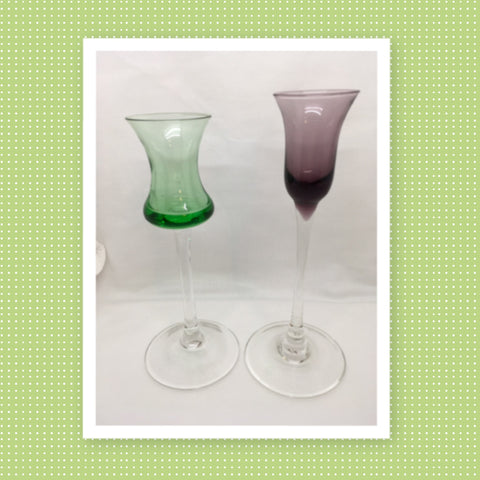 Stemware Vintage Clear Glass Cordial Shot Glasses SET of 2 Green Purple Barware Wedding