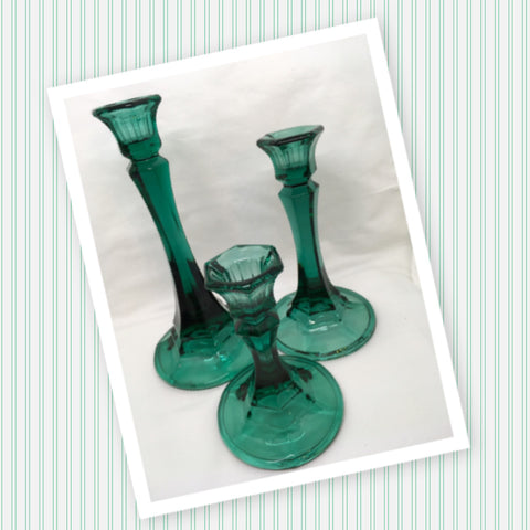 Candlestick or Votive Holders Vintage Dark Green Glass SET OF 3 Collectible
