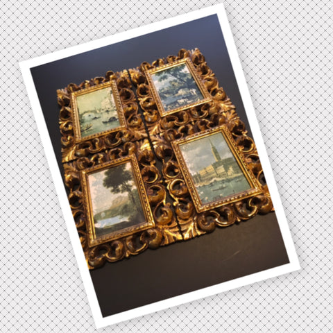Pictures Victorian Scenic Vintage Gold Plastic Frame Wall Art Country Farmhouse SET OF 4