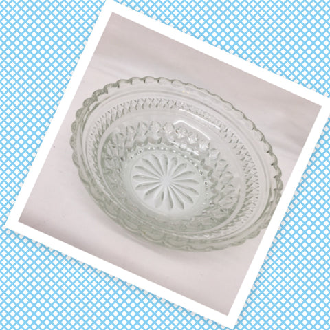 Bowl Round Clear Cut Glass 5 1/4 Inch X Pattern Design Scalloped Edge Candy Nut Serving Dish - JAMsCraftCloset