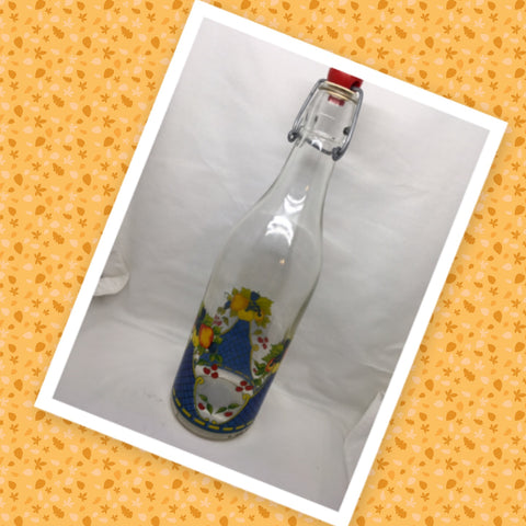Bottle Vintage Clear Glass Bale Closure Decoupaged Fruit Corked With NO Markings - JAMsCraftCloset