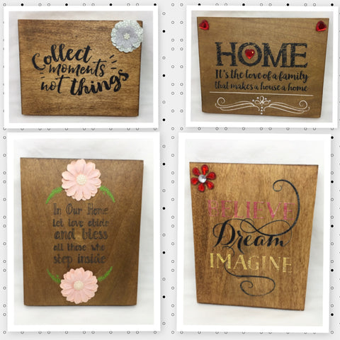 Wooden Sign Positive Words OUR HOUSE COLLECT HOME BELIEVE Handmade Hand Painted
