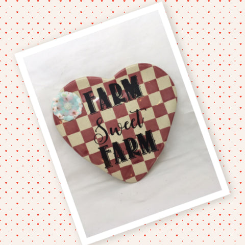 Plate Heart Red Checkered Hand Painted Upcycled Repurposed FARM SWEET FARM Home Decor Wall Art Gift
