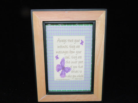 Wall Art Trust Your Instincts Positive Saying Dark Green Wood Frame - JAMsCraftCloset