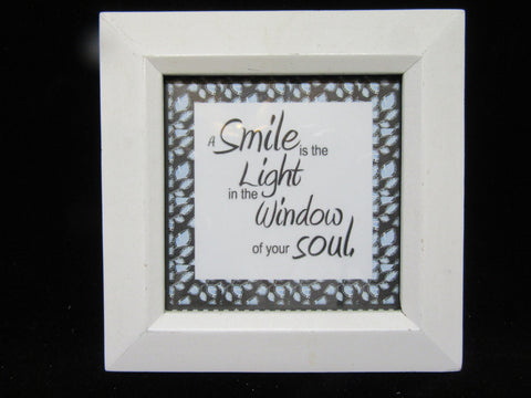 Shelf Sitter Smile Positive Saying Framed White Frame Affirmation - JAMsCraftCloset