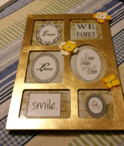 Wall Decor Family We Are Family Laugh Love Smile Faith Dream Imagine Believe  Gold and Yellow - JAMsCraftCloset