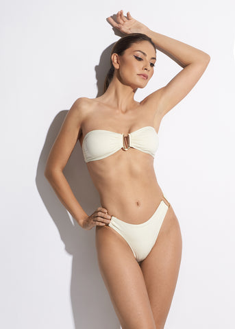 La Dolce Vita Padded Triangle Bikini Bra in White/Navy