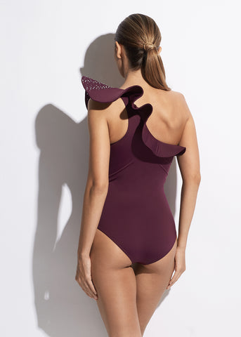 La Muse Ruffled One Shoulder Swimsuit in Purple