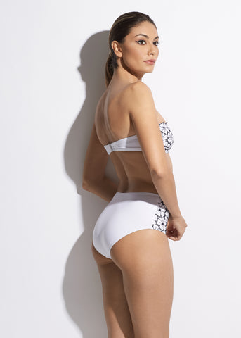 La Dolce Vita High Waist Bikini Brief in White/Navy