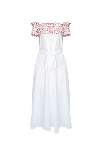 La Dolce Vita Off the Shoulder Long Dress in White/Red
