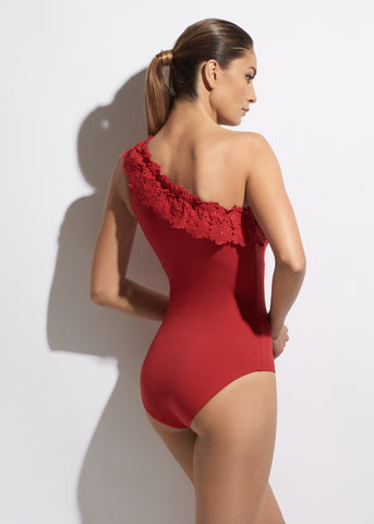 Malibu Sunshine One Shoulder Swimsuit in Red