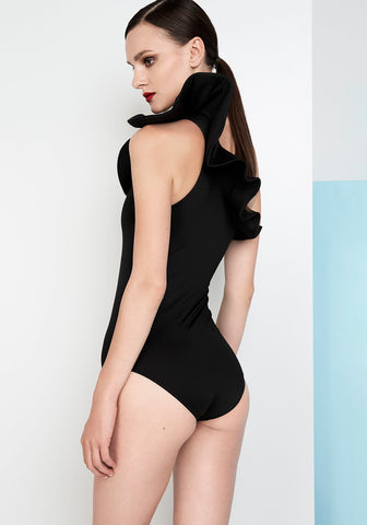 Dhalia Ruffled One Shoulder Swimsuit in Black