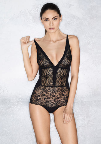 Clair de Lune Triangle Cup Bodysuit in Midnight Blue