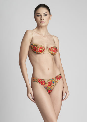 Wonderland Delights Balconette Bra in Earth Red