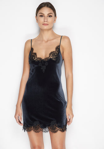Hotel Particulier Long Silk Camisole in Anthracite/Black