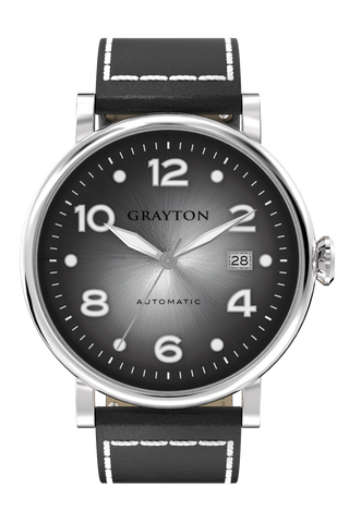 GRAYTON AUTOMATIC, GREY DIAL, LEATHER STRAP - Boutique Watch Shop
