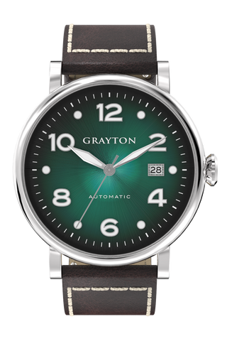 GRAYTON AUTOMATIC, GRADUATED GREEN DIAL, LEATHER STRAP - Boutique Watch Shop