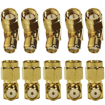 SAPT316 - 10 Pack of Gold Coax SMA Male to Rght Angle Female Cable Adapters