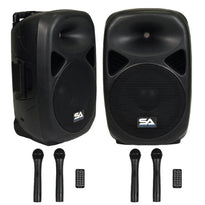 Pair of Powered 12 Inch PA Speakers - Rechargeable with 2 Mics, Remote and Bluetooth