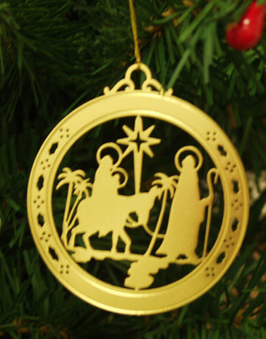 Personalized Nativity High Polished Brass Custom Christmas Ornament
