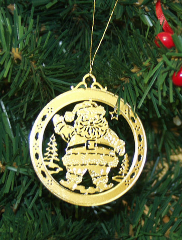 Personalized Santa Claus High Polished Brass Custom Christmas Ornament