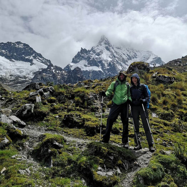 Couple in front of Salkantay mountain