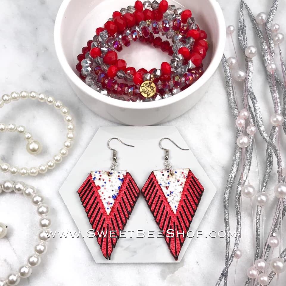 Red and White Glitter Diamond Shape Fringe Earrings-jewelry-Sweet Bee Boutique