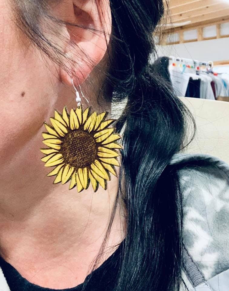 Wooden Sunflower Earrings-jewelry-Sweet Bee Boutique