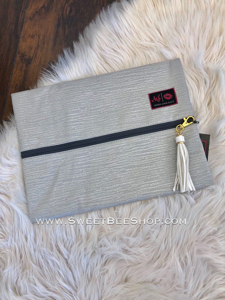 Makeup Junkie Silver Distressed Print Textured Bag-Bags & Purses-Sweet Bee Boutique