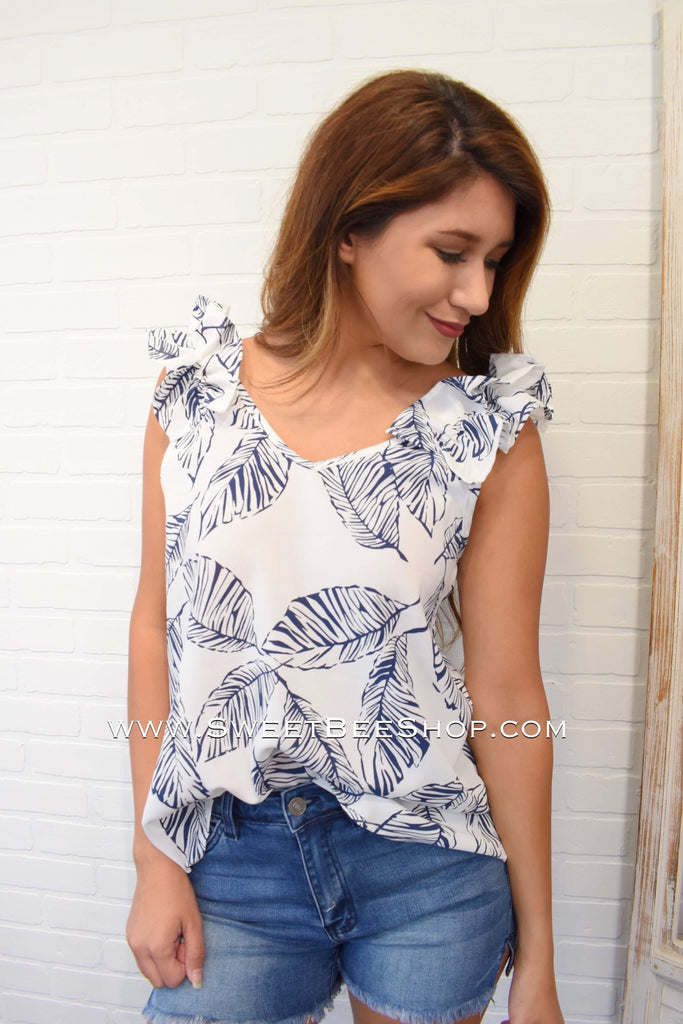 Off White Sleeveless Top With Blue Palm Leaves
