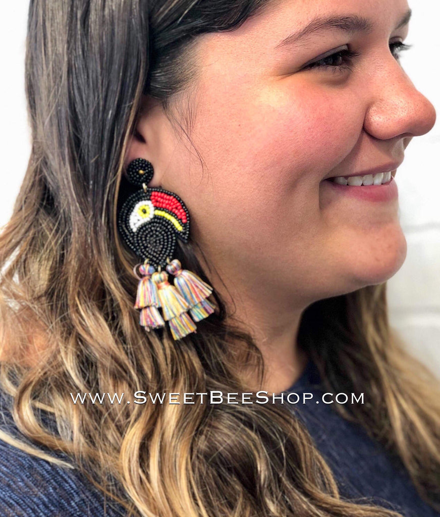 Tassel Drop Beaded Tucan Earrings-jewlery-Sweet Bee Boutique